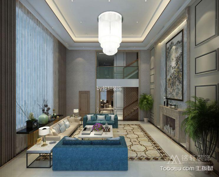 客厅白色灯具混搭风格装潢效果图