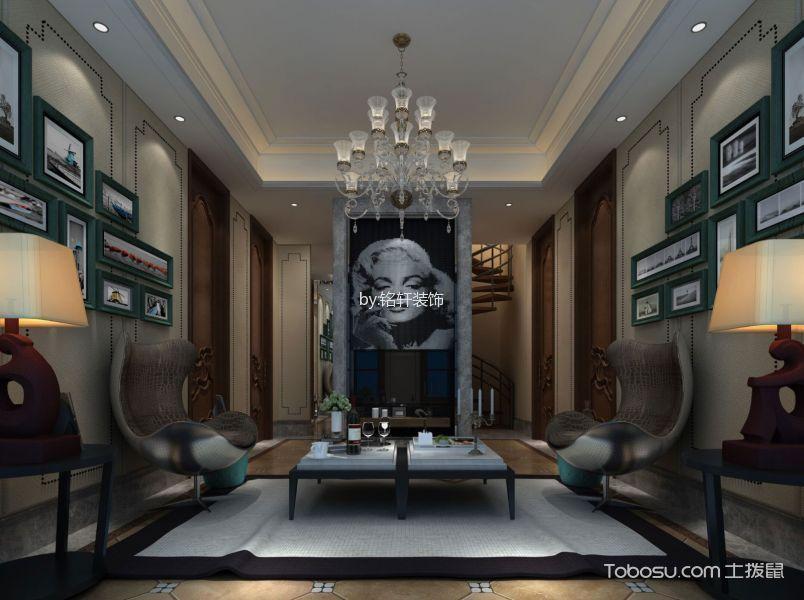 客厅 吊顶_新中式风格200平米别墅房子装饰效果图