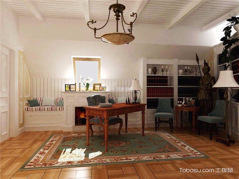书房黄色地板砖美式风格装潢设计图片