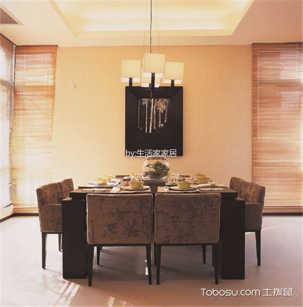 餐厅黄色灯具简约风格装修设计图片