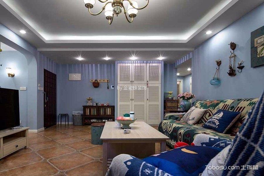 客厅黄色地板砖混搭风格装修效果图