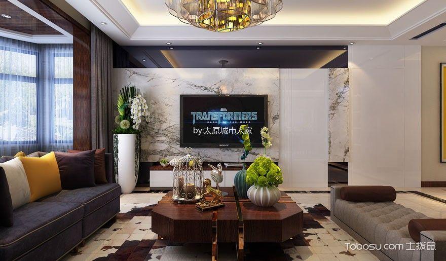 西部丽景四居室现代简约设计