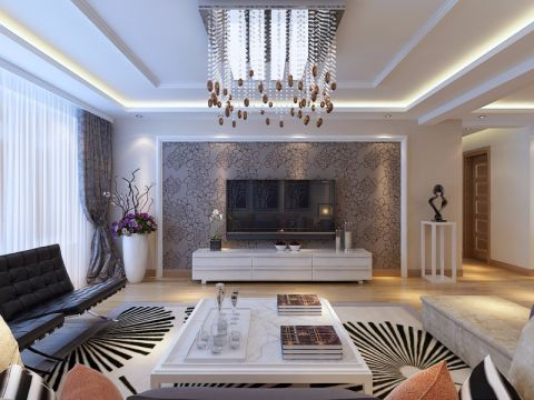 客厅背景墙现代简约风格装修图片
