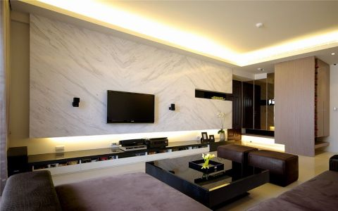 客厅背景墙现代简约风格装修效果图