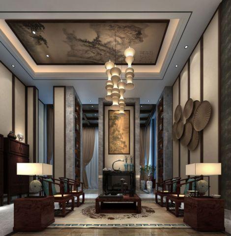 客厅灰色吊顶新中式风格装潢效果图