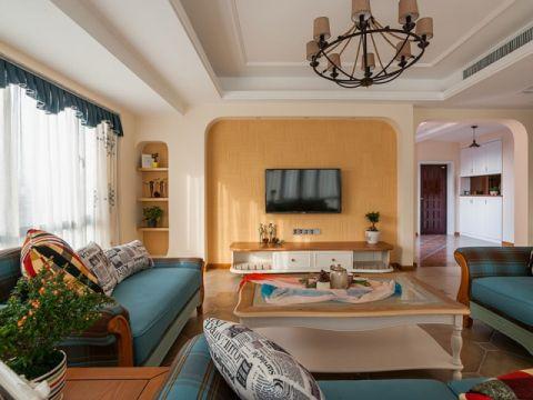 客厅背景墙田园风格装潢效果图