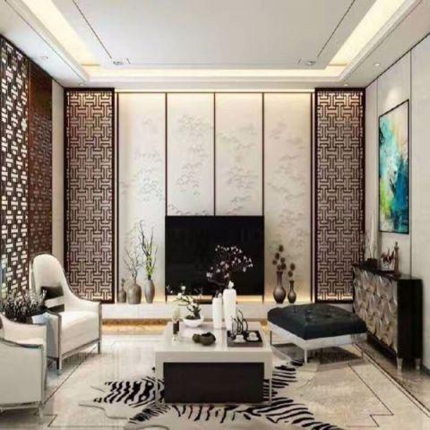 客厅茶几现代中式风格装潢设计图片