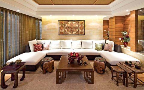 东南亚风格风格120平米三室两厅室内装修效果图
