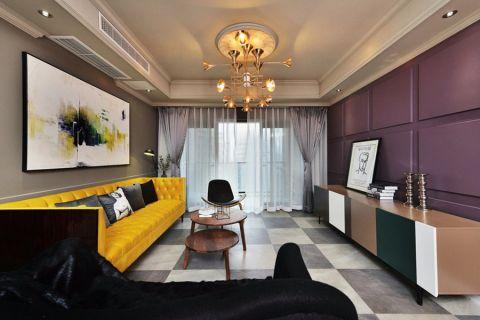 混搭风格110平米三室两厅室内装修效果图