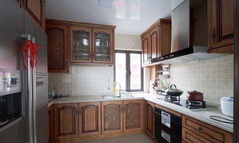 厨房背景墙中式风格装潢设计图片