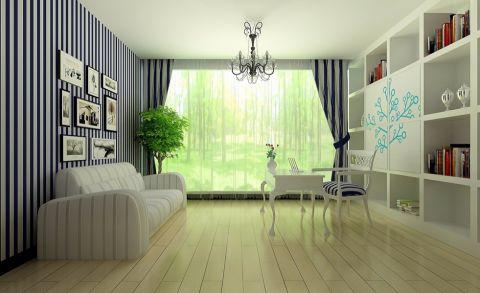 书房背景墙混搭风格装潢效果图