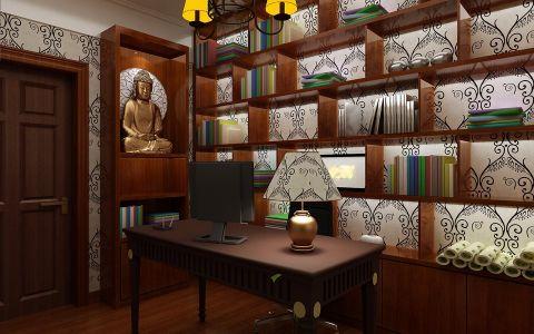 书房背景墙中式风格装饰图片