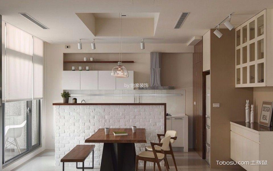 厨房咖啡色餐桌现代简约风格效果图