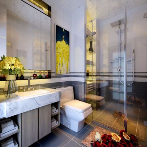 卫生间洗漱台后现代风格装饰设计图片