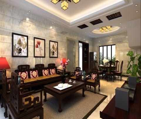 客厅照片墙中式风格装潢效果图