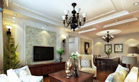 美式风格86平米两房两厅新房装修效果图