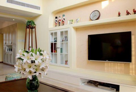客厅背景墙美式风格装潢设计图片