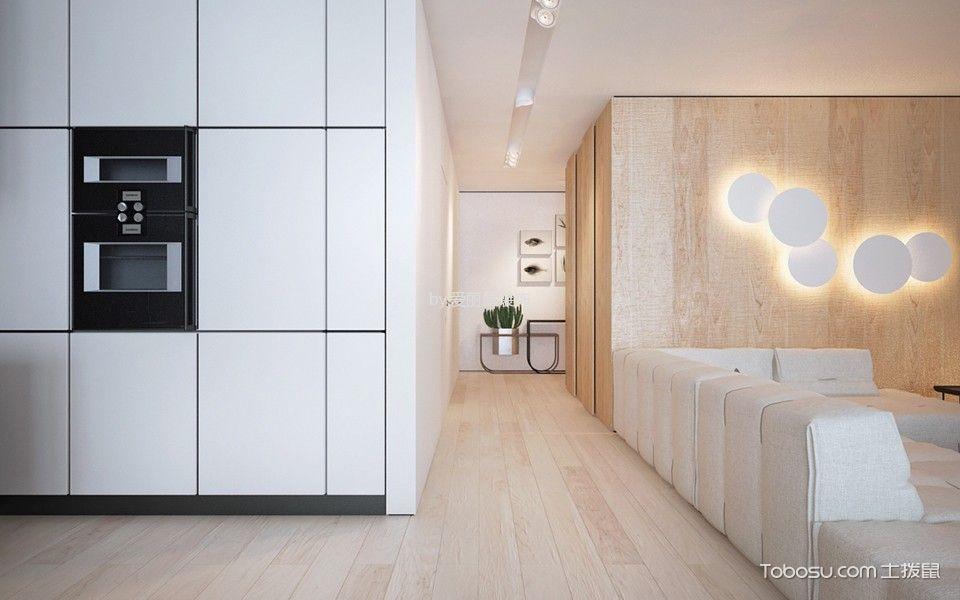 客厅黄色走廊北欧风格装潢设计图片