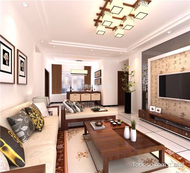 新中式风格120平米三室两厅室内装修效果图