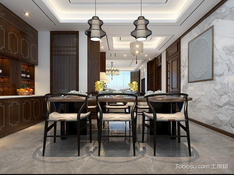 餐厅黑色灯具新中式风格装修图片