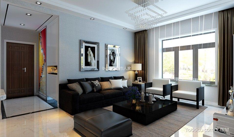 客厅 窗帘_现代简约风格106平米三室两厅室内装修效果图