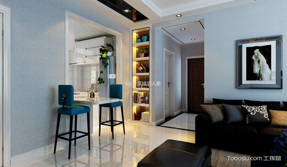 客厅 地板砖_现代简约风格106平米三室两厅室内装修效果图