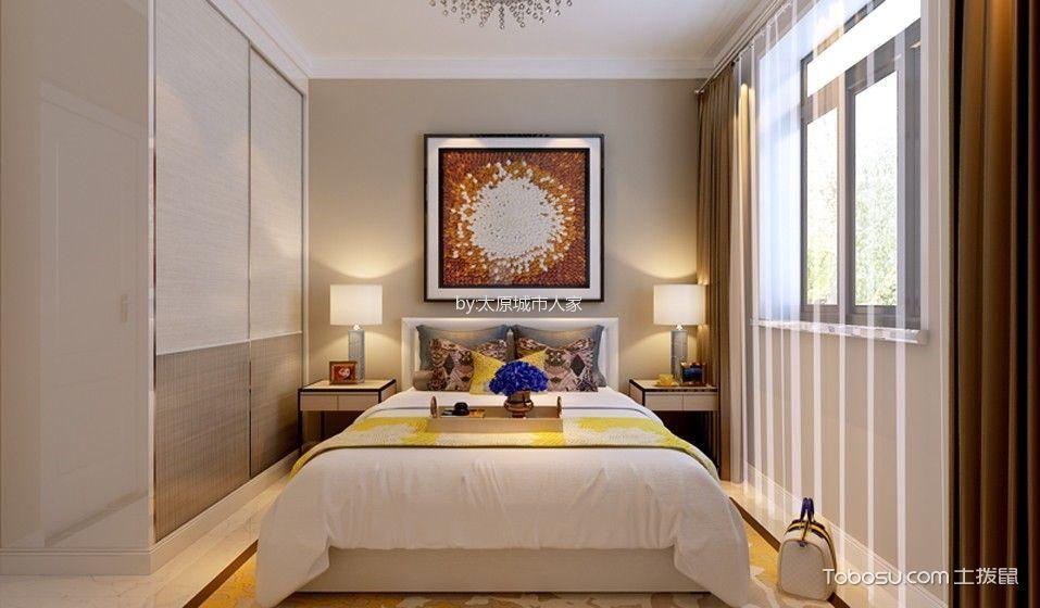 卧室 衣柜_现代简约风格106平米三室两厅室内装修效果图
