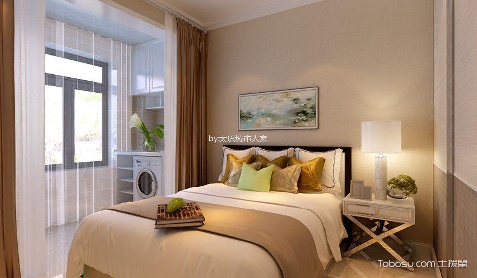 卧室 窗帘_现代简约风格106平米三室两厅室内装修效果图