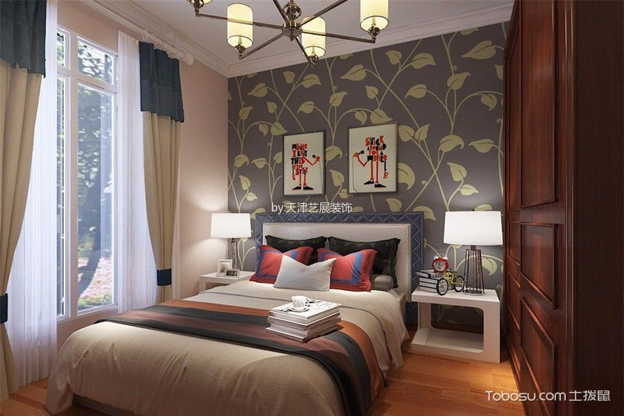 卧室白色窗帘混搭风格装饰效果图
