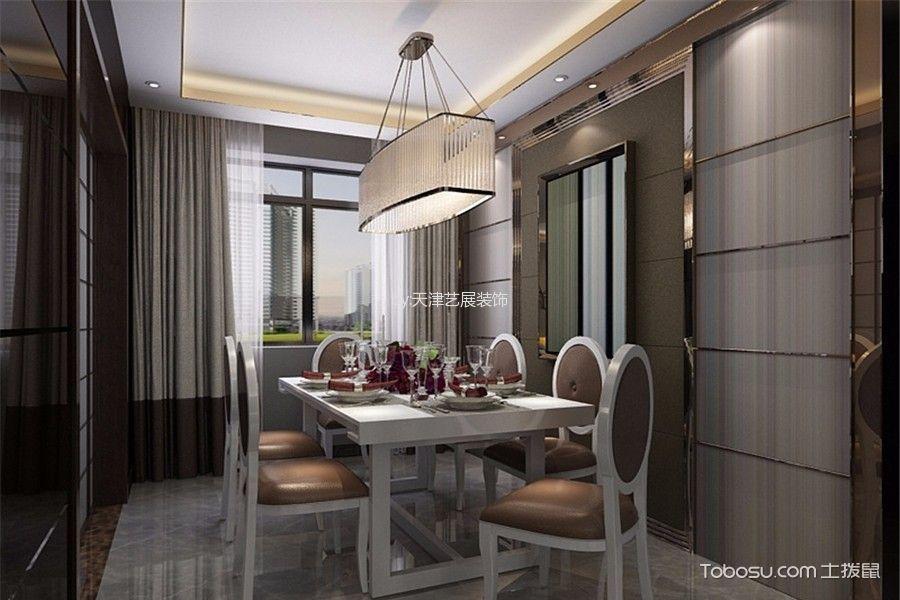 餐厅白色灯具简约风格装潢效果图