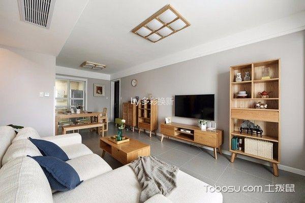 客厅白色沙发日式风格装饰图片