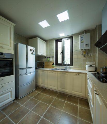 厨房米色背景墙美式风格装饰设计图片