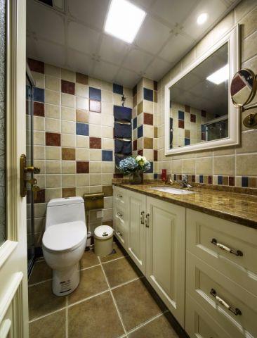 卫生间彩色背景墙美式风格效果图