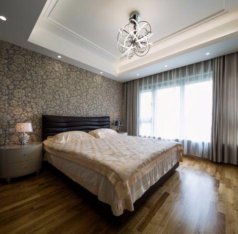 卧室咖啡色背景墙现代简约风格装修图片