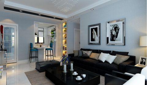客厅黑色沙发现代简约风格装饰图片