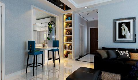 客厅白色地板砖现代简约风格装潢设计图片