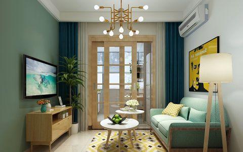 客厅蓝色窗帘北欧风格效果图