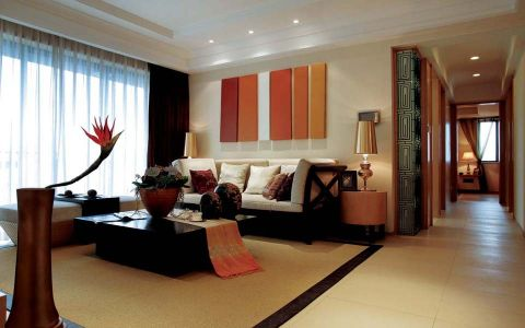 东南亚风格134平米三房两厅新房装修效果图