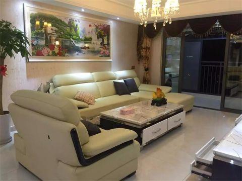 客厅灰色推拉门简欧风格装潢设计图片