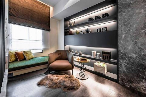 书房绿色榻榻米现代简约风格装潢效果图