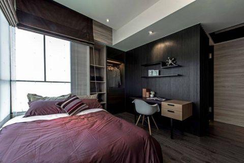 卧室咖啡色窗帘现代简约风格装饰图片