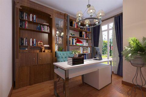 书房咖啡色博古架混搭风格装修效果图