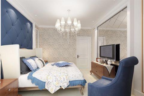 卧室蓝色背景墙简欧风格装潢设计图片