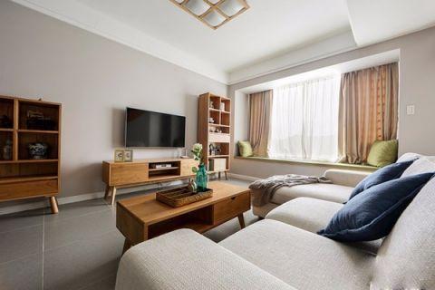 日式风格90平米两房两厅新房装修效果图