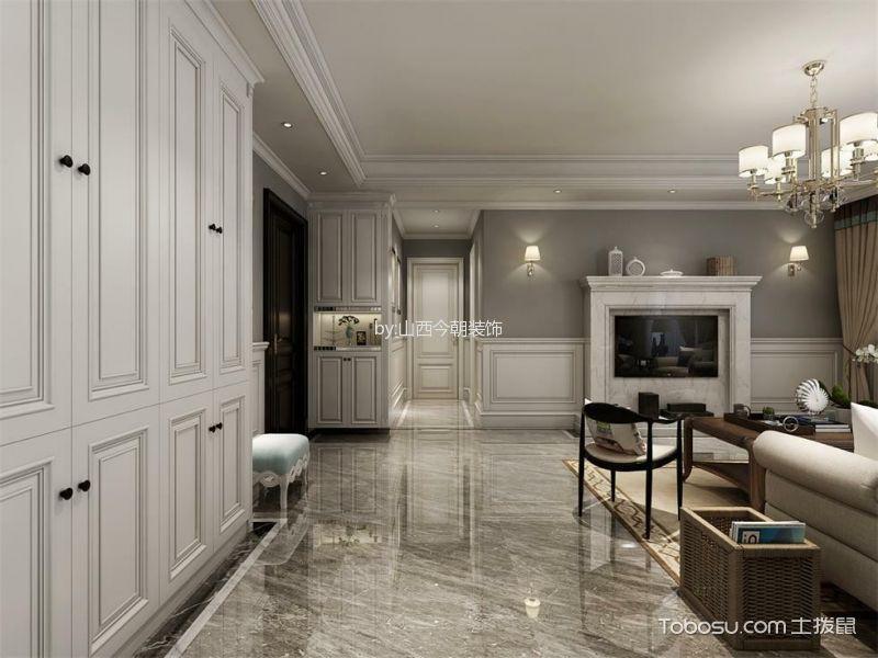 客厅白色走廊简欧风格装潢设计图片