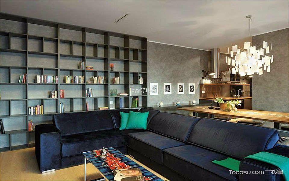 客厅灰色博古架混搭风格装饰图片