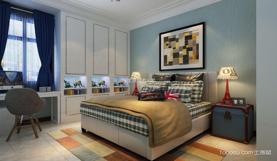 卧室蓝色窗帘现代中式风格装饰效果图