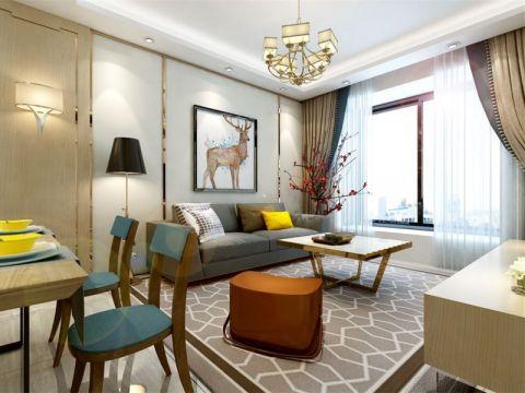 现代风格90平米三房两厅新房装修效果图
