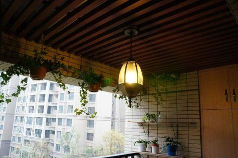 美式阳台木格栅吊顶设计方案