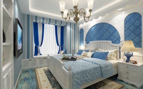 卧室蓝色欧式U乐国际窗帘优乐娱乐官网欢迎您图片